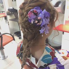 花火大会 セミロング 夏 和装 ヘアスタイルや髪型の写真・画像