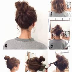 ゆるふわ 波ウェーブ ミディアム ヘアアレンジ ヘアスタイルや髪型の写真・画像