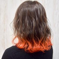 カラーバター 裾カラー フェミニン 切りっぱなしボブ ヘアスタイルや髪型の写真・画像