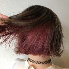 ボブ インナーカラーグレー インナーカラーパープル インナーカラー ヘアスタイルや髪型の写真・画像