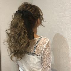 ロング ガーリー アップスタイル ポニーテール ヘアスタイルや髪型の写真・画像