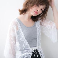 ミディアム アンニュイ 大人かわいい 前髪あり ヘアスタイルや髪型の写真・画像