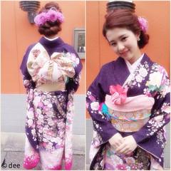 成人式 ヘアアレンジ 花 編み込み ヘアスタイルや髪型の写真・画像