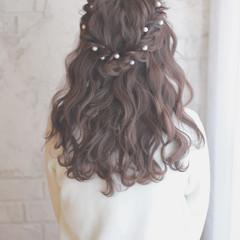 ショート ロング ヘアアレンジ パールアクセ ヘアスタイルや髪型の写真・画像