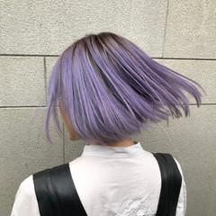 モード 切りっぱなしボブ ラベンダーピンク ラベンダーグレー ヘアスタイルや髪型の写真・画像