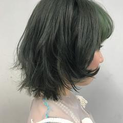 ボブ コントラストハイライト ハイライト ブリーチカラー ヘアスタイルや髪型の写真・画像