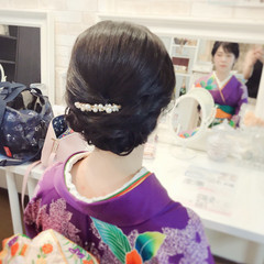 黒髪 セミロング エレガント 結婚式 ヘアスタイルや髪型の写真・画像