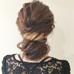ロング お団子 グラデーションカラー 上品 ヘアスタイルや髪型の写真・画像