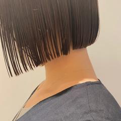 ナチュラル ボブ ショートボブ 切りっぱなしボブ ヘアスタイルや髪型の写真・画像