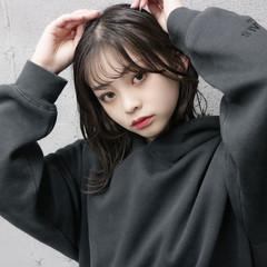 前髪あり お洒落 ミディアム 韓国風ヘアー ヘアスタイルや髪型の写真・画像