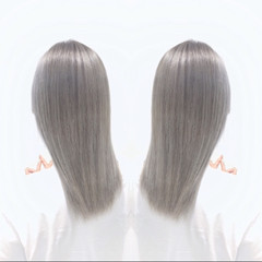 ホワイトアッシュ セミロング ホワイト グレージュ ヘアスタイルや髪型の写真・画像