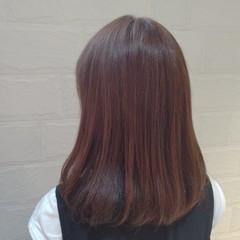 オレンジカラー オレンジ オレンジブラウン ミディアム ヘアスタイルや髪型の写真・画像