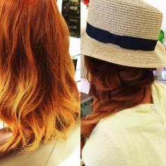 セミロング 渋谷系 グラデーションカラー ガーリー ヘアスタイルや髪型の写真・画像