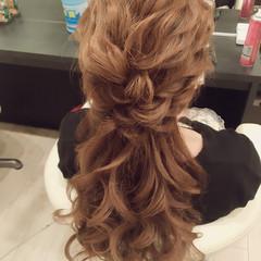 ロング 結婚式 大人かわいい ヘアアレンジ ヘアスタイルや髪型の写真・画像