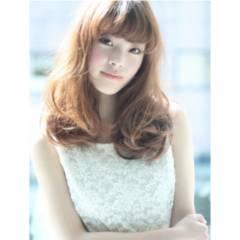 モテ髪 セミロング フェミニン ガーリー ヘアスタイルや髪型の写真・画像