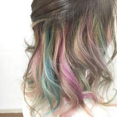 ダブルカラー インナーカラー イルミナカラー ミディアム ヘアスタイルや髪型の写真・画像