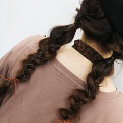 デート ロング 編みおろしヘア ナチュラル ヘアスタイルや髪型の写真・画像