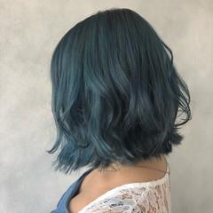 ブルー 個性的 モード ハイトーン ヘアスタイルや髪型の写真・画像