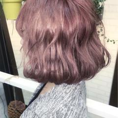 ピンク ボブ 色気 ゆるふわ ヘアスタイルや髪型の写真・画像
