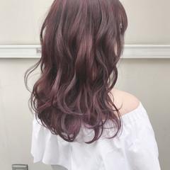 ダブルカラー ラベンダーピンク ベージュカラー ガーリー ヘアスタイルや髪型の写真・画像