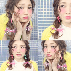 フェミニン ヘアアレンジ 三つ編み 簡単ヘアアレンジ ヘアスタイルや髪型の写真・画像