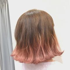 フェミニン ピンク グラデーションカラー 切りっぱなし ヘアスタイルや髪型の写真・画像