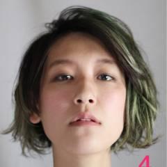 ボブ ストリート グリーン ショート ヘアスタイルや髪型の写真・画像