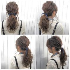 アッシュ 外国人風 ロング フェミニン ヘアスタイルや髪型の写真・画像