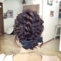 編み込み パーティ ヘアアレンジ アップスタイル ヘアスタイルや髪型の写真・画像