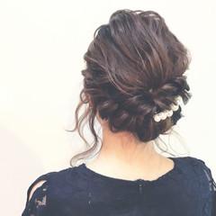 結婚式 デート セミロング 黒髪 ヘアスタイルや髪型の写真・画像