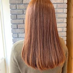 フェミニン セミロング オレンジブラウン デート ヘアスタイルや髪型の写真・画像