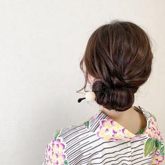 浴衣ヘア 浴衣アレンジ 和装ヘア ミディアム ヘアスタイルや髪型の写真・画像