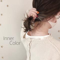 イヤリングカラー 切りっぱなしボブ ベージュ ミディアム ヘアスタイルや髪型の写真・画像