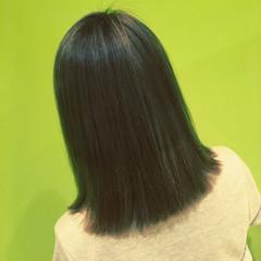 アッシュ モード ボブ ストレート ヘアスタイルや髪型の写真・画像