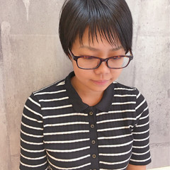 暗髪 ショートバング フリンジバング ショート ヘアスタイルや髪型の写真・画像
