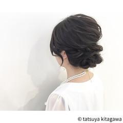 結婚式 ミディアム ゆるふわ ヘアアレンジ ヘアスタイルや髪型の写真・画像