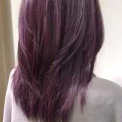 ガーリー ブリーチ レイヤー セミロング ヘアスタイルや髪型の写真・画像