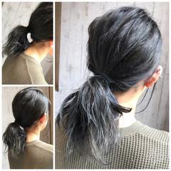 セミロング 冬 透明感 グレージュ ヘアスタイルや髪型の写真・画像