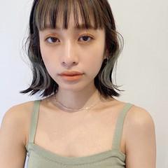 透明感カラー ナチュラル 切りっぱなしボブ イヤリングカラー ヘアスタイルや髪型の写真・画像