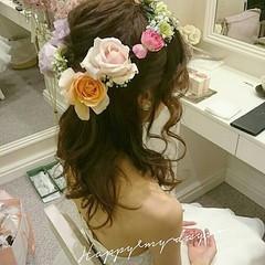 ヘアアレンジ ハーフアップ ブライダル ゆるふわ ヘアスタイルや髪型の写真・画像
