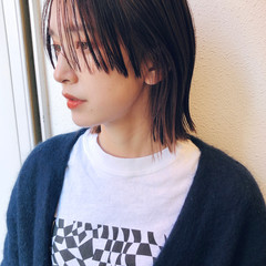 ハイライト ミニボブ 切りっぱなしボブ ピンクパープル ヘアスタイルや髪型の写真・画像