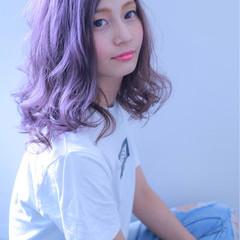 パープル 外国人風カラー ハイトーン アンニュイ ヘアスタイルや髪型の写真・画像