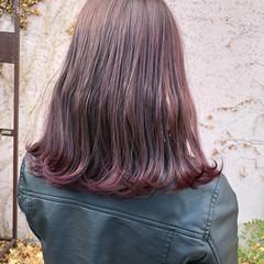 ナチュラル ピンクラベンダー ミディアム ラベンダーピンク ヘアスタイルや髪型の写真・画像