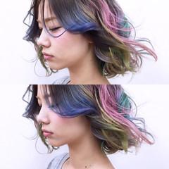 グラデーションカラー ストリート ブリーチ ミディアム ヘアスタイルや髪型の写真・画像