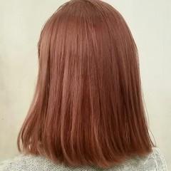 ボブ ピンク 春 ミディアム ヘアスタイルや髪型の写真・画像