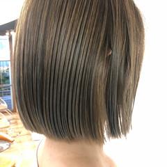 ボブ 切りっぱなしボブ 透明感カラー 極細ハイライト ヘアスタイルや髪型の写真・画像