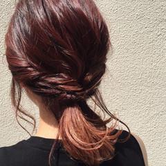 ミディアム 簡単ヘアアレンジ グラデーションカラー ピンク ヘアスタイルや髪型の写真・画像