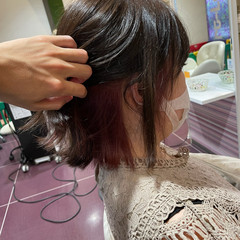 ピンクカラー 韓国ヘア ミディアム ヘアカラー ヘアスタイルや髪型の写真・画像