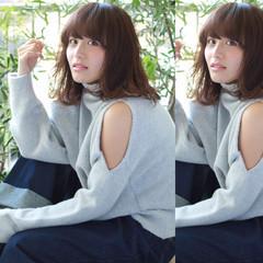 グレージュ 外国人風 ガーリー ミディアム ヘアスタイルや髪型の写真・画像