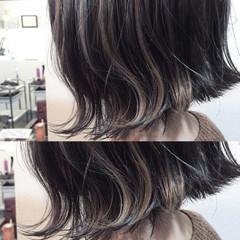 ハイライト 外ハネ ボブ ガーリー ヘアスタイルや髪型の写真・画像